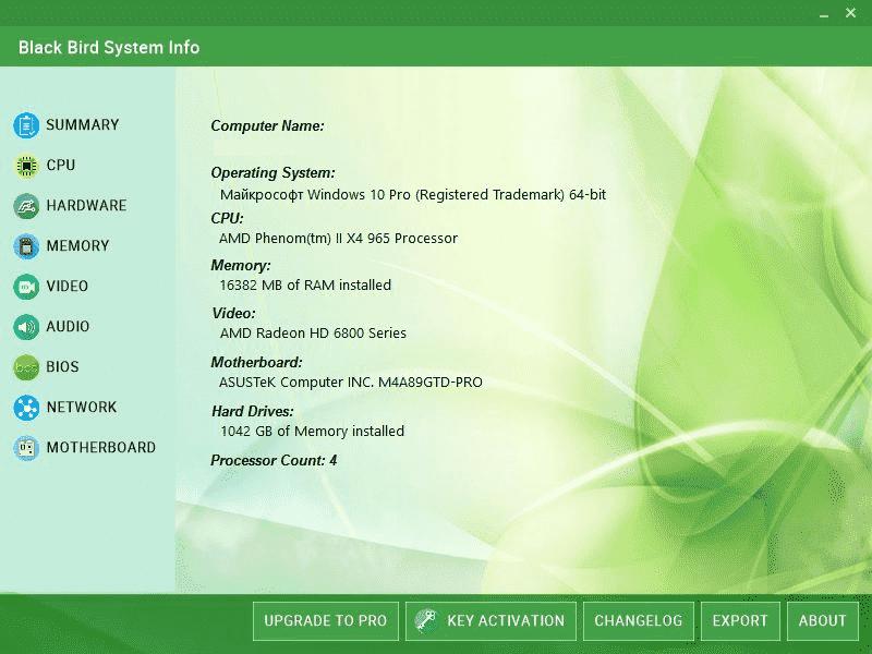 Phần mềm kiểm tra cấu hình PC Black Bird System Info