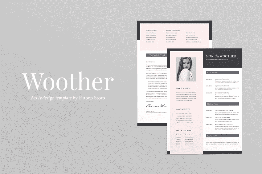 Mẫu hồ sơ Woother Resume cho Adobe Indesign