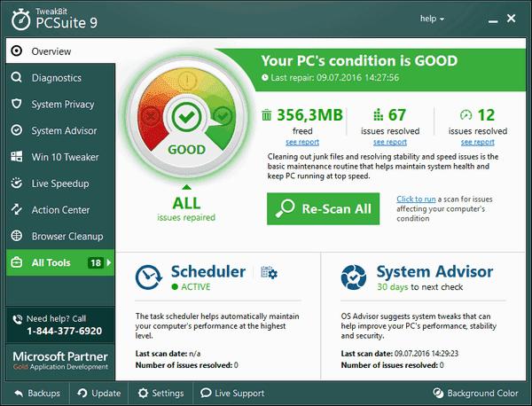 Phần mềm TweakBit PCSuite