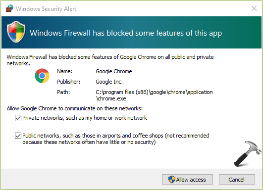 Windows Firewall has blocked some features of this app