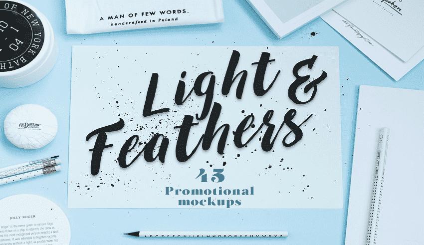 Gói mockups quảng cáo khủng Light & Feathers