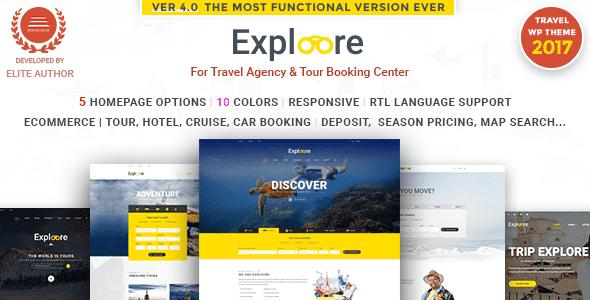Theme EXPLOORE du lịch, đặt phòng du lịch cho wordpress