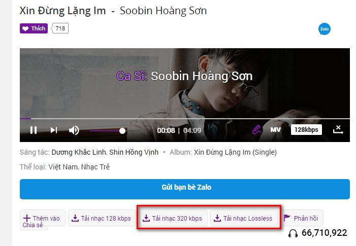 Hướng dẫn tải nhạc 320kbps và lossless trên zingmp3