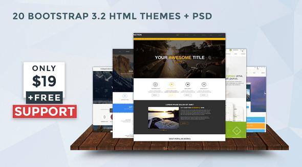 Hơn 20+ Bootstrap v3.2 HTML Themes với 13 tập tin PSD