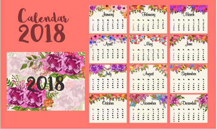 Chia sẻ 3 bộ với hơn 15 template cho thiết kế lịch hiện đại 2018