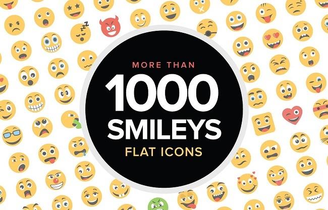 1000 Flat Smiley Icons Vector biểu tượng mặt cười