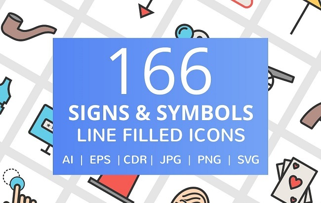 166 Signs & Symbols Filled Line Icon creativemarket