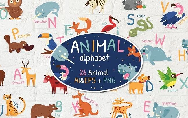 Illustrations Bảng chữ cái động vật