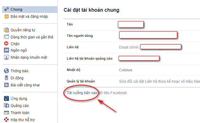 Tải dữ liệu trước khi chuyển facebook sang fanpage