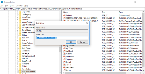 Add Desktop location through Registry Editor