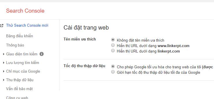 Tên miền ưa thích của Google Search Console