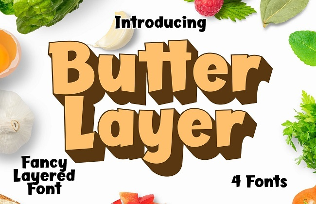 Butter Layer - 4 Fonts chữ