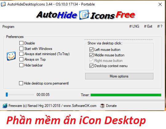 Phần mềm ẩn icon Desktop - AutoHideDesktopIcons