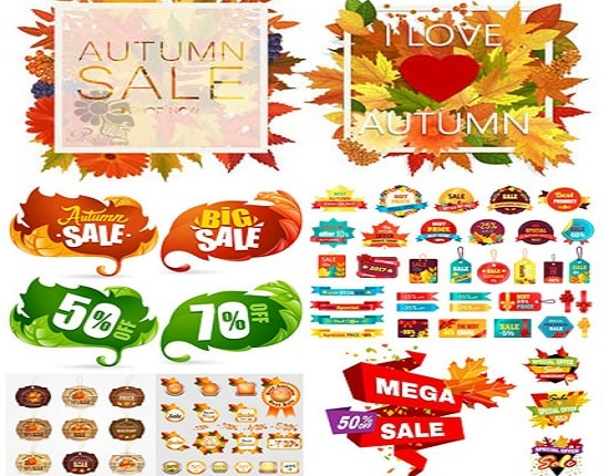 Bộ Vectors illustrator Sale Autumn Labels