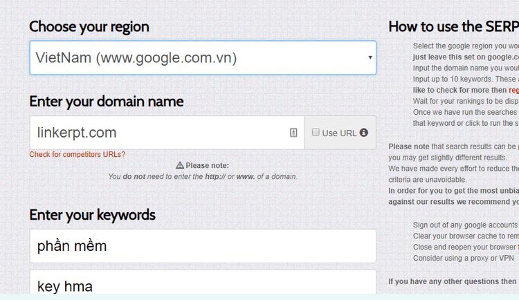 kiểm tra xếp hạng miễn phí của Google