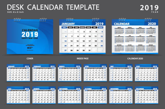 Set 4 Stock template lịch 2019 file AI
