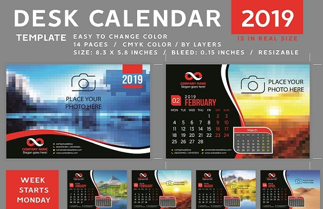 Download Mẫu thiết kế lịch Vector năm 2019