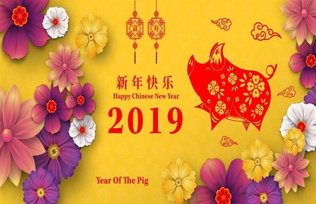 Thiệp chúc mừng năm mới Trung Quốc 2019