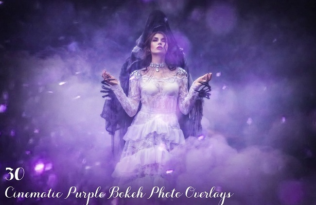 30 Cinematic Purple Bokeh Overlays CM