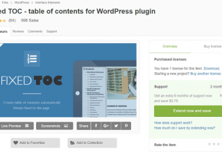 Plugin Fixed TOC - table of contents cho WordPress