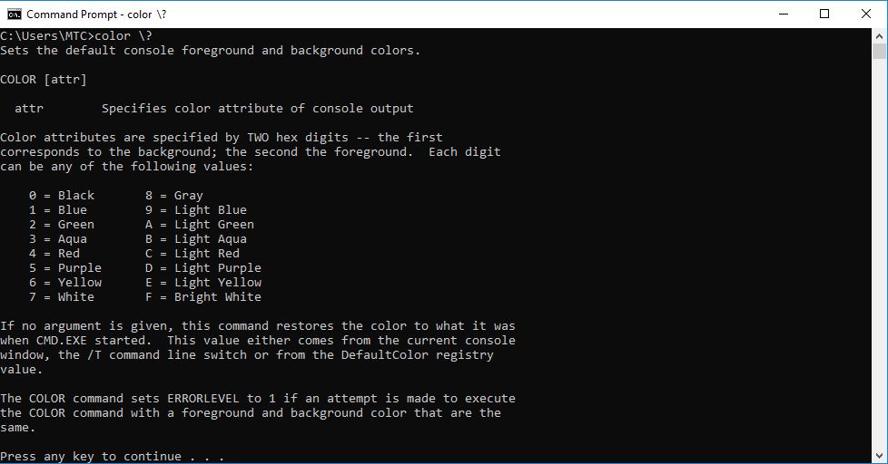 Cách thay đổi màu nền trong Command Prompt