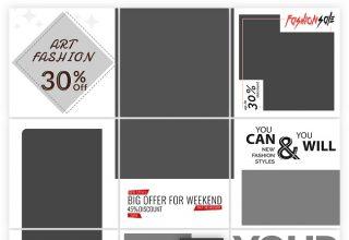 Bộ sưu tập các mẫu layer cho các phòng trưng bày và các bài đăng câu đố cho Instagram