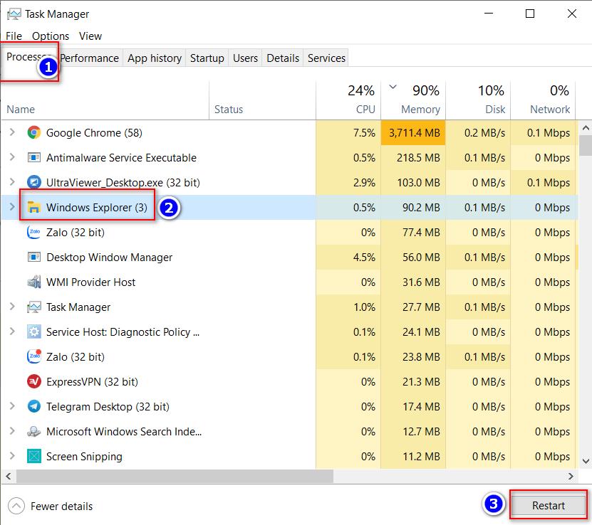khởi động lại File Explorer