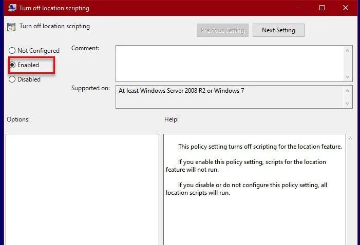 Cách bật hoặc tắt Tập lệnh vị trí trên Windows 10