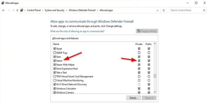 Tùy chọn Private và Public trong hộp thoại Change settings